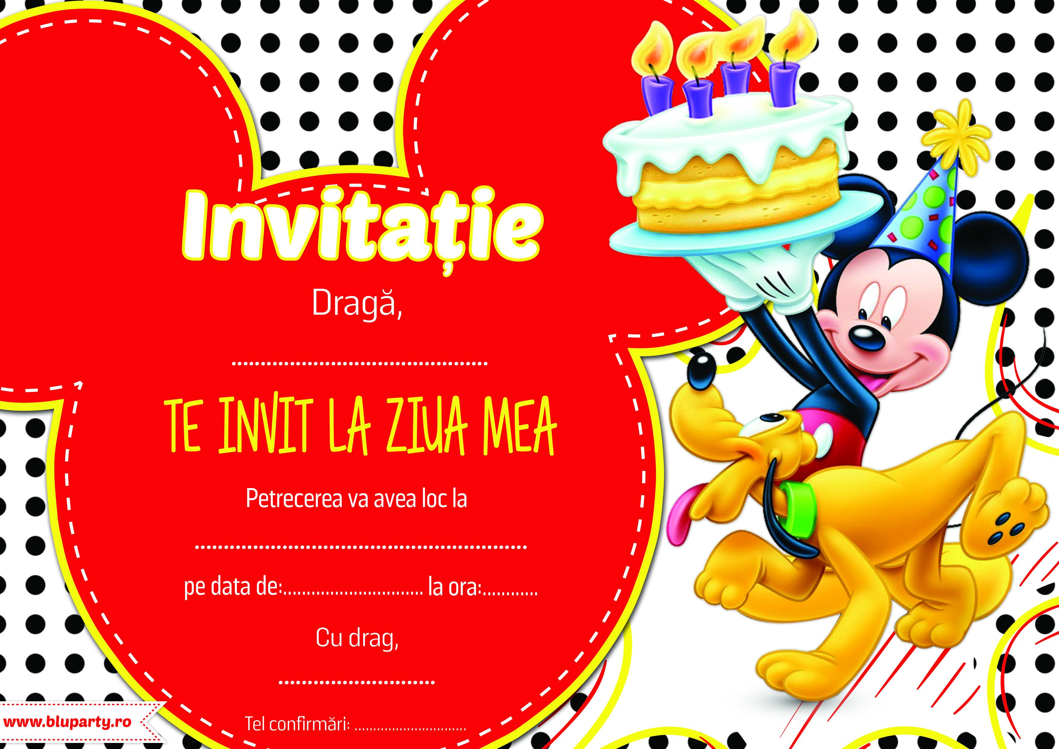 Invitatie petreceri copii cu Mickey
