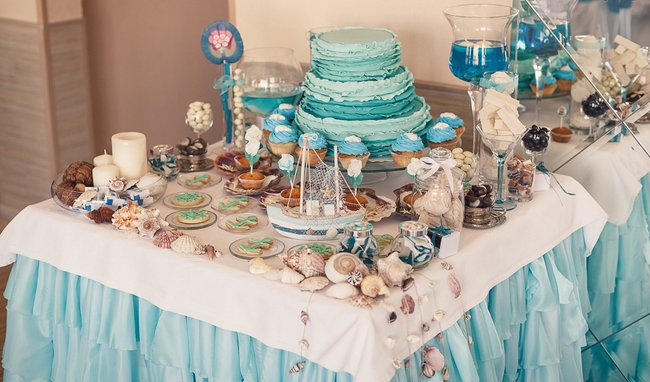 tropical candy buffet wedding